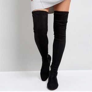 ASOS Black Over The Knee Flat Boots
